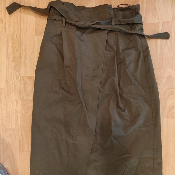 Khaki A-line Cotton Midi Skirt with Front Slit